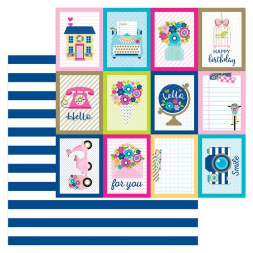 Papel scrapbooking 30x30 Hello - Navy Stripe Doodlebug Design