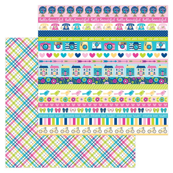 Papel scrapbooking 30x30 Hello - Poppy Plaid Doodlebug Design