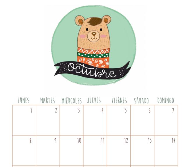 calendario octubre descargable gratis