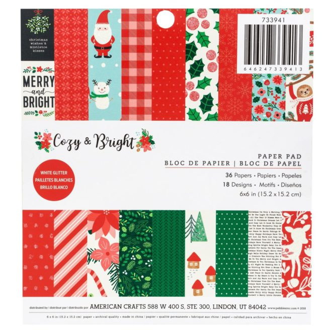 Block de 36 papeles para scrapbooking 15.2 x 15.2 cm Cozy & Bright