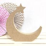 luna de madera dm con una estrella para decorar