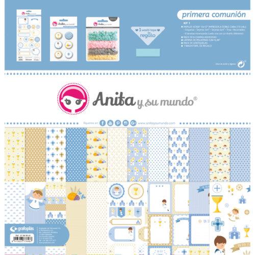 Kit Scrapbooking Primera Comunión Niño Anita Y Su Mundo