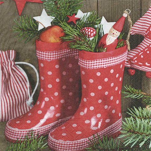 Servilleta para decoupage 33 x 33 Gumboots with gifts