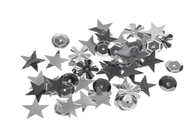 Lentejuelas 6mm formas surtidas plateadas