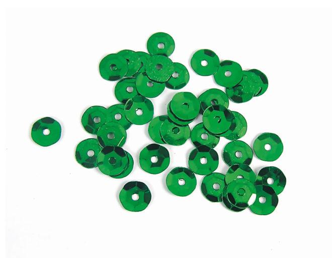Lentejuelas 7mm plateada verde