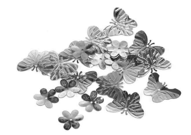 Lentejuelas mariposas y flores plateadas 5mm, 10mm y 20mm