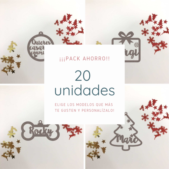 Pack 20 Bolas de navidad de madera personalizada