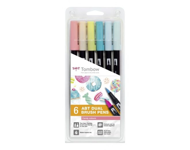 Set 6 Rotuladores ABT Dual Brush Candy Colours Tombow