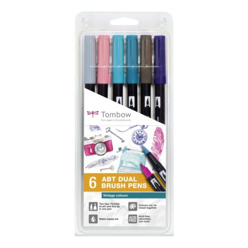 Set 6 Rotuladores ABT Dual Brush Vintage Colours Tombow