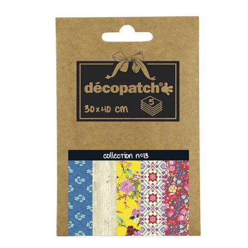 Papeles Décopatch Pocket 30x40 cm 5 hojas - Colección n°13