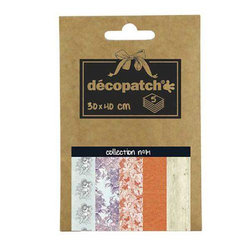 Papeles Décopatch Pocket 30x40 cm 5 hojas - Colección n°14