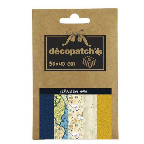 Papeles Décopatch Pocket 30x40 cm 5 hojas - Colección n°15