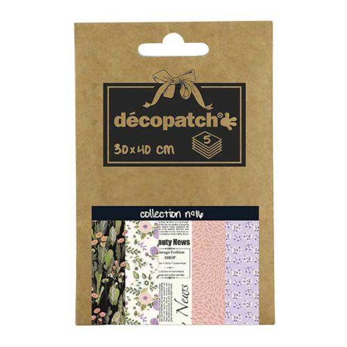 Papeles Décopatch Pocket 30x40 cm 5 hojas - Colección n°16