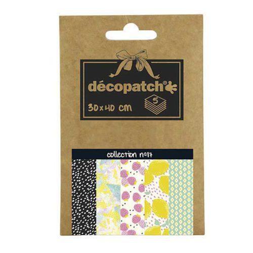 Papeles Décopatch Pocket 30x40 cm 5 hojas - Colección n°17