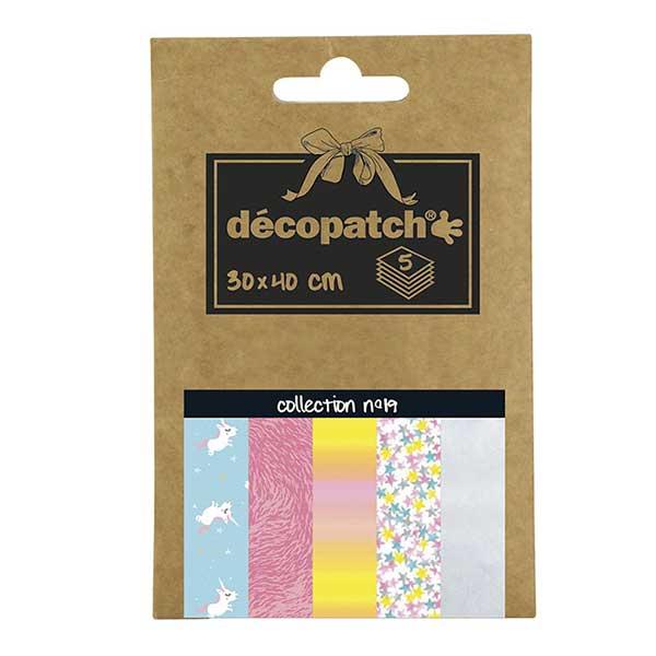 Papeles Décopatch Pocket 30x40 cm 5 hojas - Colección n°19