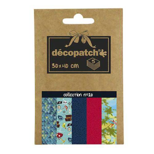 Papeles Décopatch Pocket 30x40 cm 5 hojas - Colección n°20