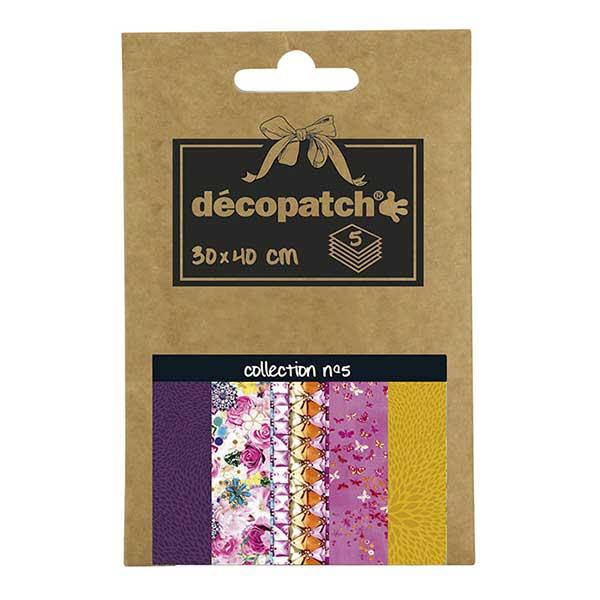 Papeles Décopatch Pocket 30x40 cm 5 hojas - Colección n°5