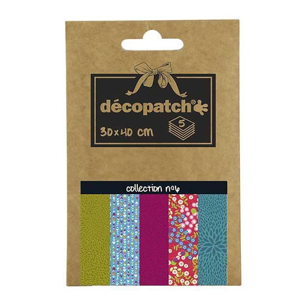 Papeles Décopatch Pocket 30x40 cm 5 hojas - Colección n°6