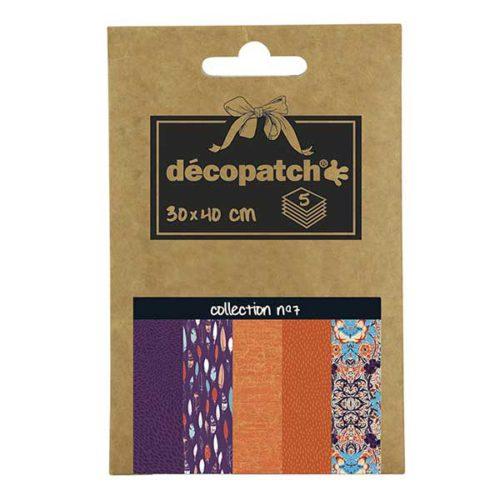 Papeles Décopatch Pocket 30x40 cm 5 hojas - Colección n°7