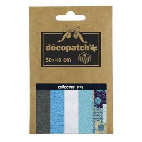 Papeles Décopatch Pocket 30x40 cm 5 hojas - Colección n°8