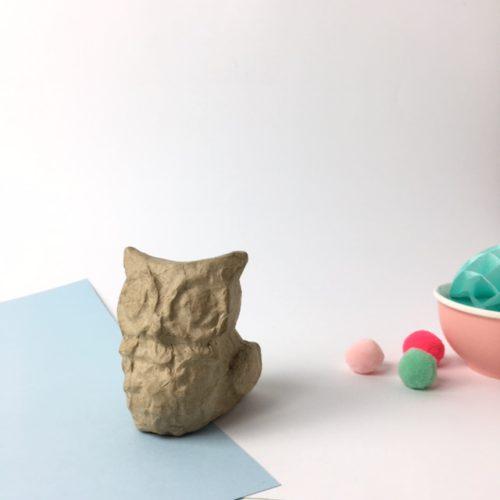 Búho cartón craft Décopatch para decorar