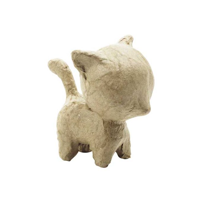 Pequeño gato de pie cartón craft Décopatch para decorar