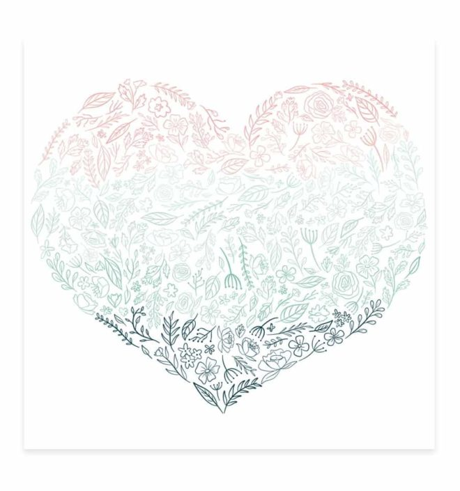 Acetato corazón de flores 30x30 - Colección Bonita de Mintopia