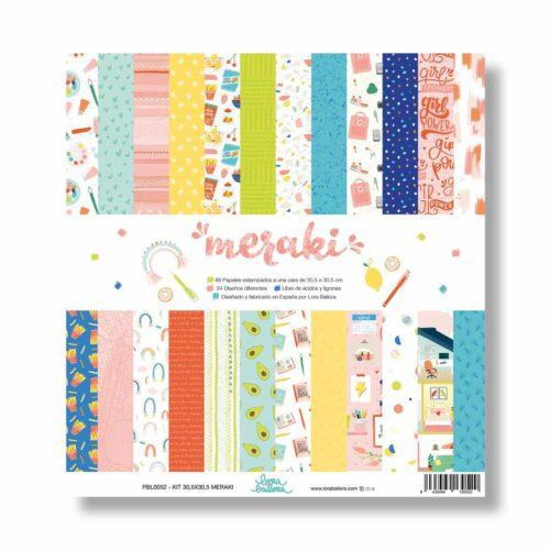 Pack 48 papeles scrapbooking 30x30cm a 1 cara - Colección Meraki de Lora Bailora
