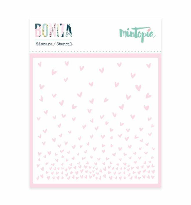 Stencil corazones 10x10 cm- Colección Bonita de Mintopia