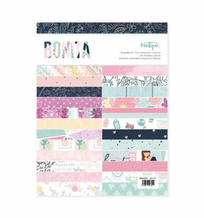 Pack 24 papeles scrapbooking 15,25x20,3cm a 1 cara - Colección Bonita de Mintopia