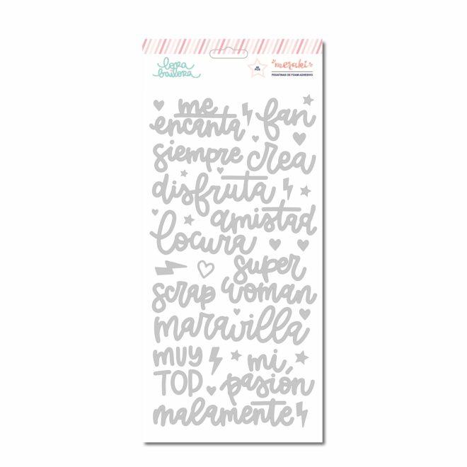 Palabras de foam con foil - Colección Meraki de Lora Bailora