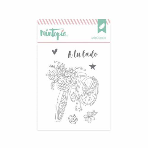 Sello bici con flores - Colección Bonita de Mintopia
