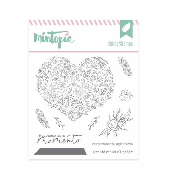 Sello corazón de flores - Colección Bonita de Mintopia