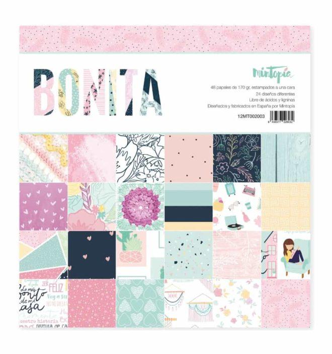 Pack 48 papeles scrapbooking 30x30cm a 1 cara - Colección Bonita de Mintopia