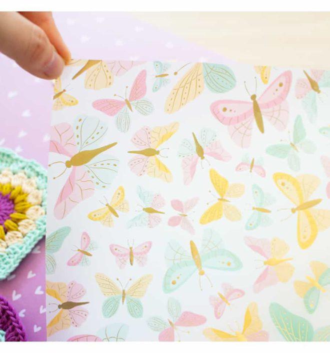 Vellum mariposas foil 30x30 - Colección Bonita de Mintopia