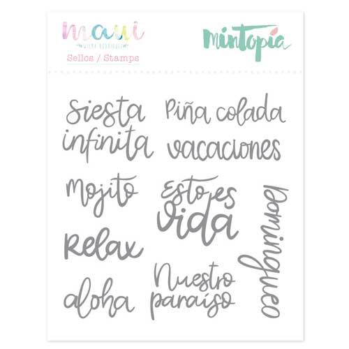 Sello palabras veraniegas colección Maui de Mintopía y Wilma Rodríguez