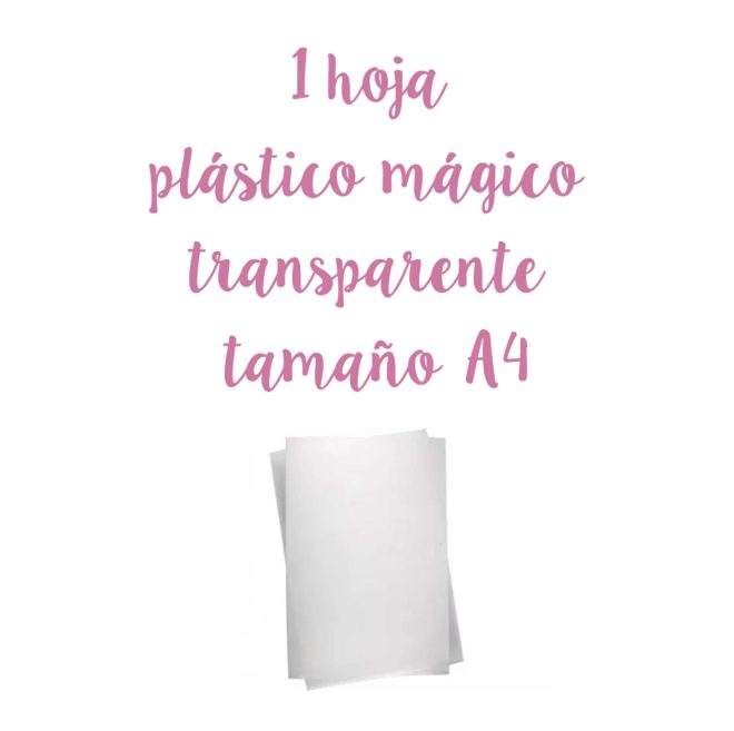 1 hoja de plástico mágico - shrink paper transparente tamaño A4
