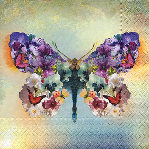 La Servilleta para decoupage 33 x 33 Le papillon fabuleux es ideal para tus trabajos de decoupage y mix media.