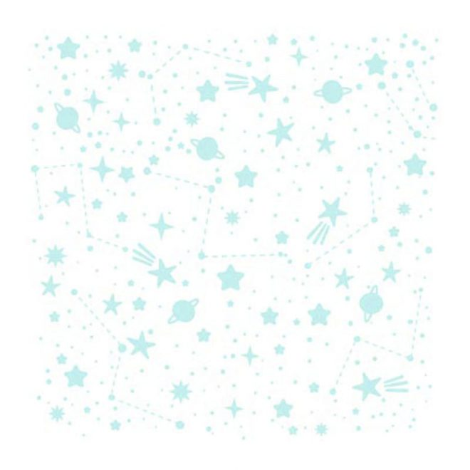 Stencil de tamaño 15x15 cm con motivo de una galaxia preciosa.