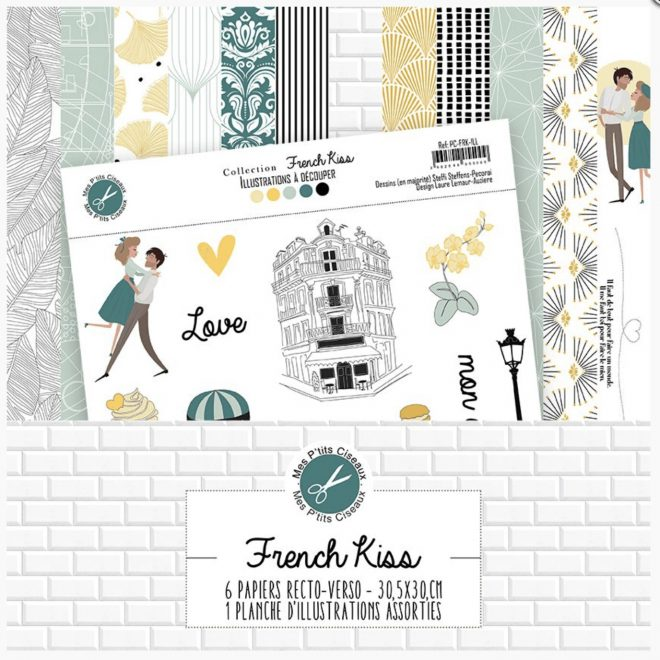 French Kiss by Mes P'tits Ciseaux. Kit colección Scrapbooking y die cuts