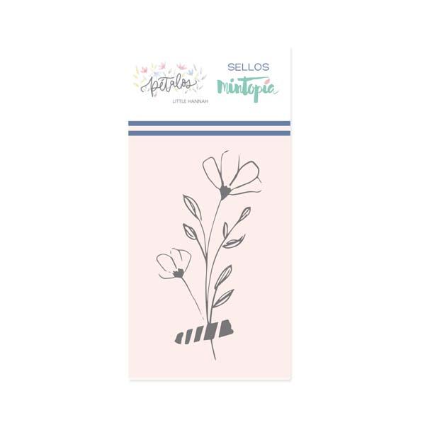 Mini sello Mintopía Pétalos ramita con washi 1